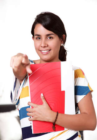 College student, looking at the camera and pointing Stock Photo - 12814054