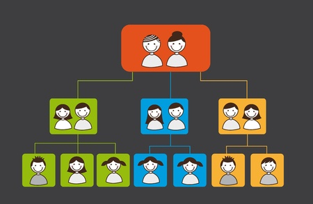 family history: family tree over square over grey background. vector Illustration