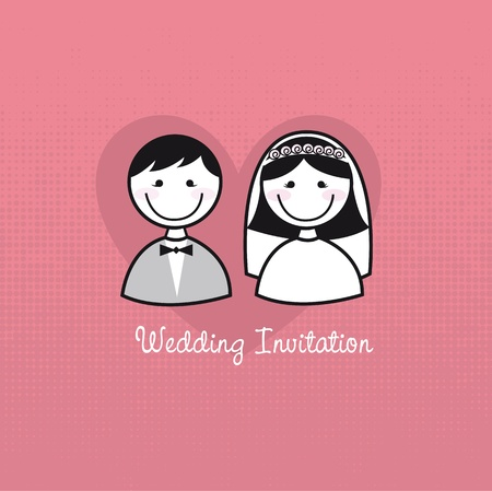 just married: cute man and woman icons, wedding invitation. vector