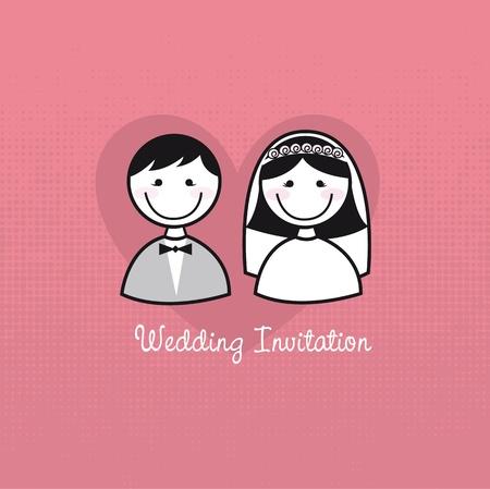 recien casados: iconos lindo hombre y una mujer, la invitaci�n de la boda. vector Vectores