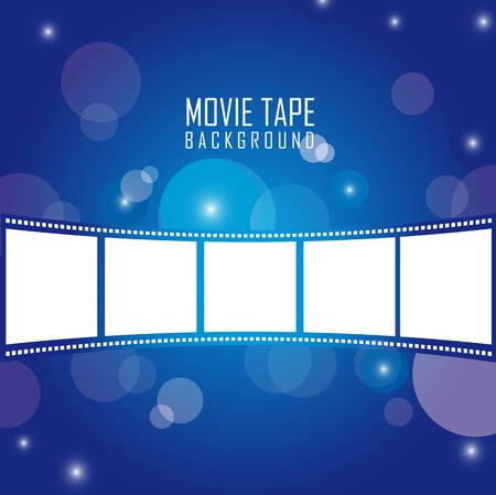 projections: movie tape over blue background. vector illustration