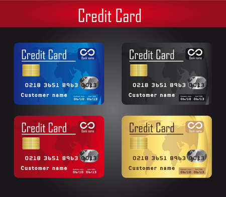 mastercard: four colorful credit cards over gray background. vector