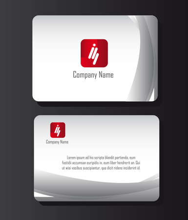 stationery: business card with red logo over gray background. vector