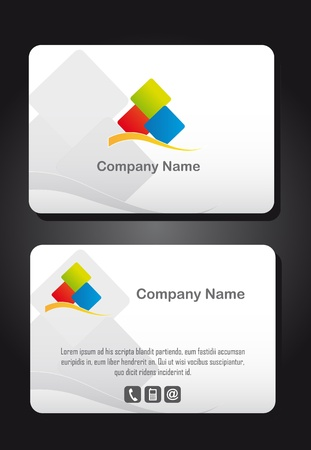 business card with logo over gray background. vector
