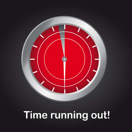 clock with time running out text over black background. vector Vector