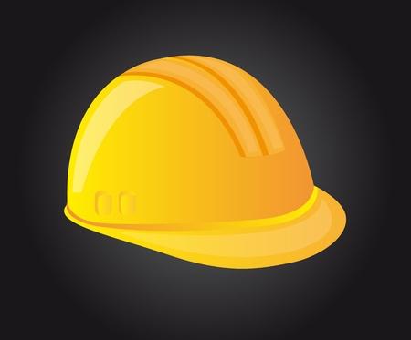 safety helmet: casco amarillo sobre fondo negro. ilustraci�n vectorial