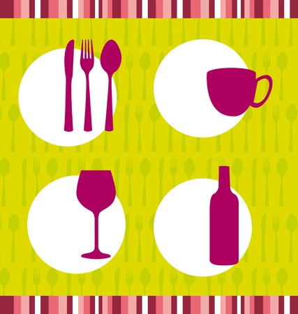 cute cutlery with cup wine background, restaurant. vector Illustration