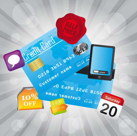 credit card with icons over silver background. vector Vector