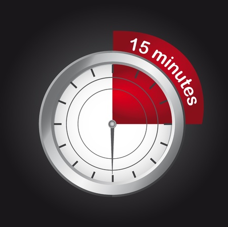 timer clock over black background, 15 minutes. vector