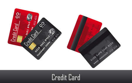 red and black credit card over white background. vector