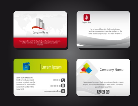 business card layout: four presentation cards over black background. vector Illustration