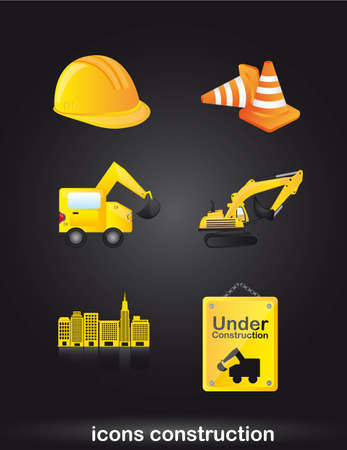 construction icons over black background. vector Stock Vector - 12814128