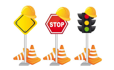 construciton signs with helmet over white background. vector Stock Vector - 12814123
