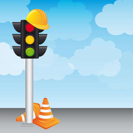 semaphore with helmet and traffic cones over sky. vector