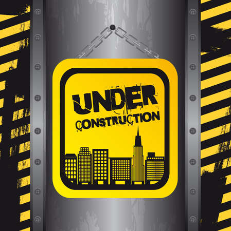under construction with buildings, grunge. vector Stock Vector - 12814177