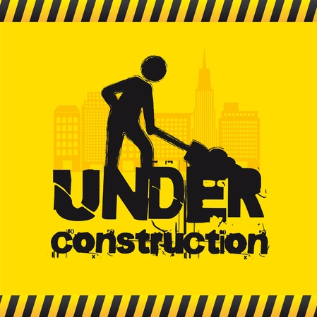 Road sign with man, under construction. vector illustration Vector