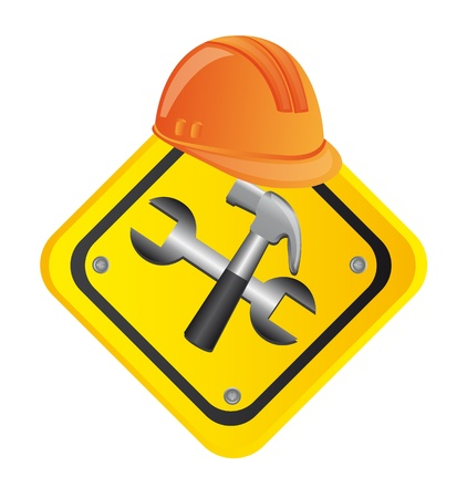web service: tools construction with helmet, road sign. vector illustration