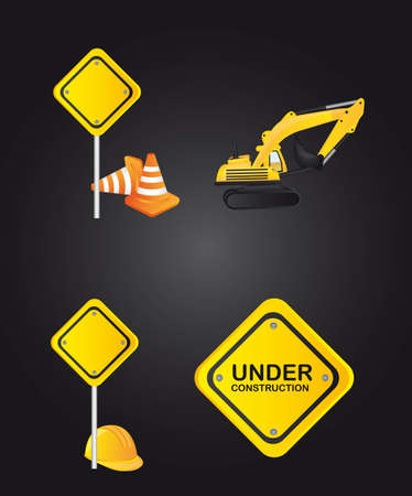 road sign icons over black background. vector illustration Stock Vector - 12814122
