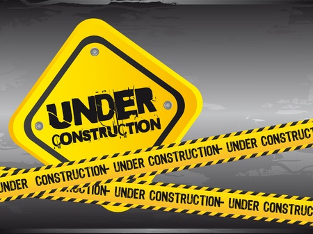 www at sign: under construction with yellow tape, grunge. vector illustration