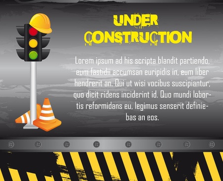 under construction with construction elements, grunge. vector Stock Vector - 12814176