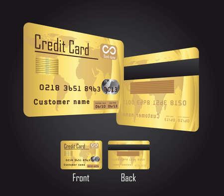 mastercard: gold credit cards over black background. vector illustration