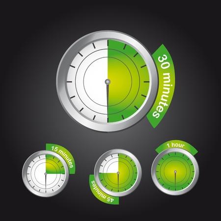 green timer clock over black background. vector illustration Vector