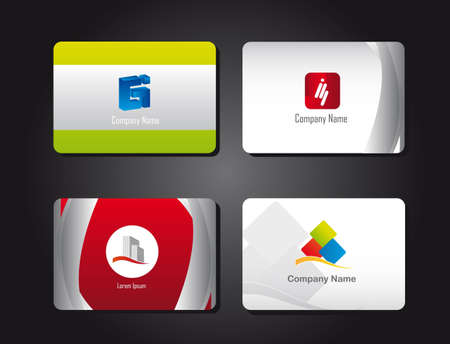 presentation cards with logos over black background. vector
