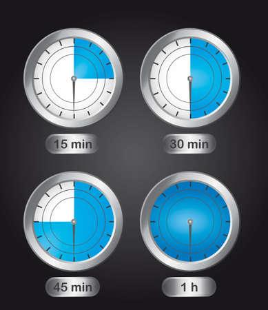 interval: four timer clock over black background. vector illustration Illustration