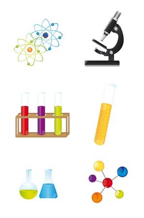 medical study: icone chimici isolato su sfondo bianco. vettoriale illusration