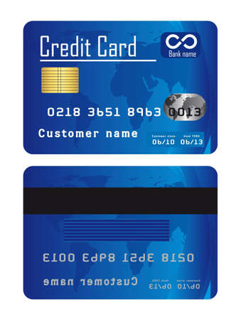 mastercard: blue credit cards isolated over white background. vector