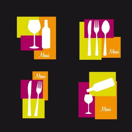 fork glasses: posate con coppa di vino isolato su sfondo nero. vettore