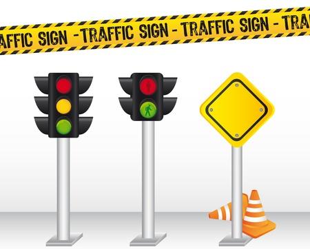 semaphore: sem�foros con el fondo en se�ales de tr�fico. ilustraci�n vectorial Vectores