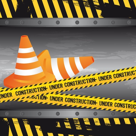 construction icon: under construction with traffic cones, grunge. vector