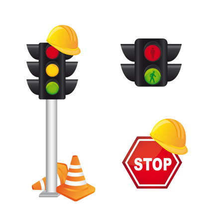 semaphore and road sign isolated over white background. vector Stock Vector - 12814132