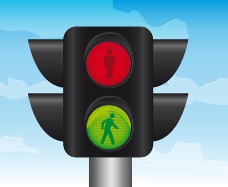 semaphore of pedestrians over sky background. vector Stock Vector - 12814108