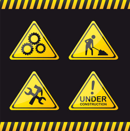 yellow road sign over black background. vector illustration Stock Vector - 12814125