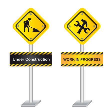 yellow road sign with man and tools. vector illustration Stock Vector - 12814106