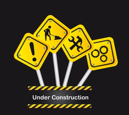 under construction sign with man: road signs over black background, under construction. vector