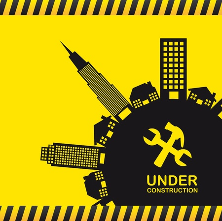 under construction with silhouette buildings. vector illustration Stock Vector - 12814113