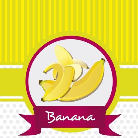 peeled banana: banana sticker on bottom two lines in green, vector illustration Illustration
