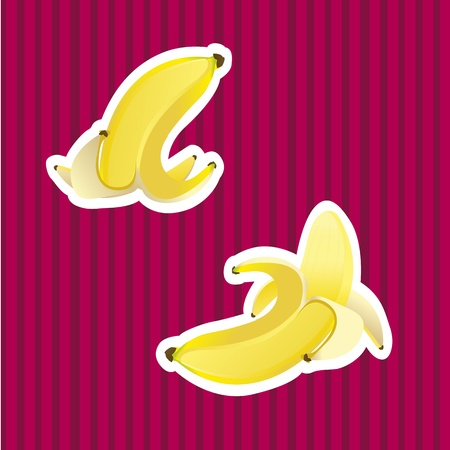 peeled: peel banana and peeled Banana over background purple lines, vector illustration