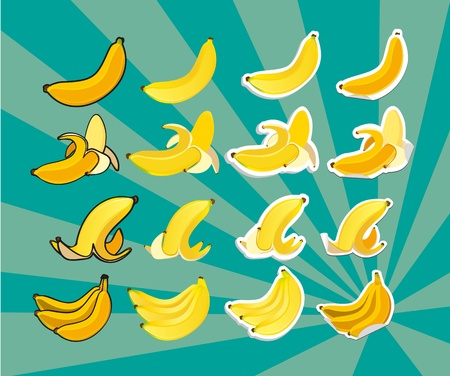 set contains: bananas in bunch, peeled and peels, in different styles Vector