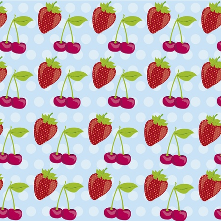 background pattern of cherries and strawberries on blue background with white dots Vector
