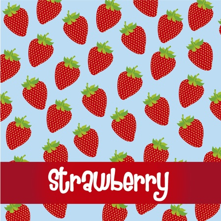 pattern of strawberries isolated on blue background Vector