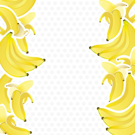 peeled banana: background decorated with bunches of bananas, vector illustration Illustration
