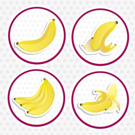 different ways: four labels of bananas in different ways, isolated on white background with gray dots