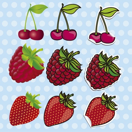 berries set, contains: 3D, cartoons and stickers Vector
