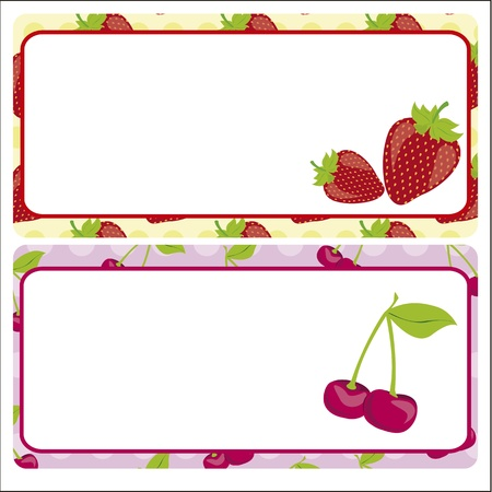 Card strawberries and cherries on pattern background