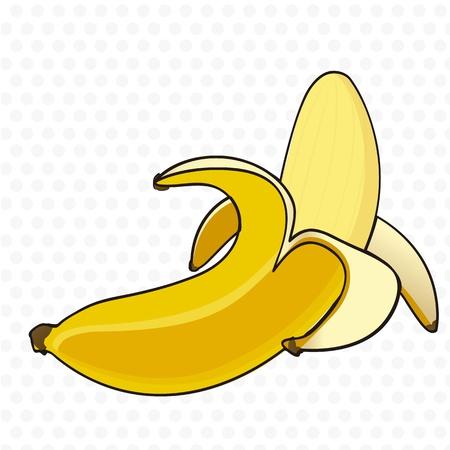 banane: Bande dessin�e peau de banane sur fond blanc avec des taches grises Illustration