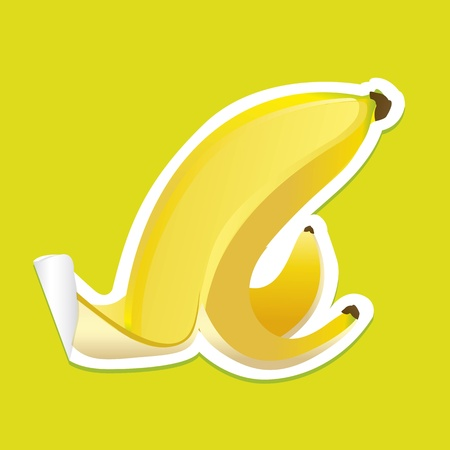 banana peel sticker on green background Stock Vector - 12814186